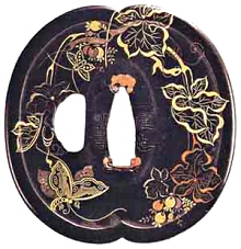 Vine Leaves & Butterflies-Tsuba by Umetada Myoju